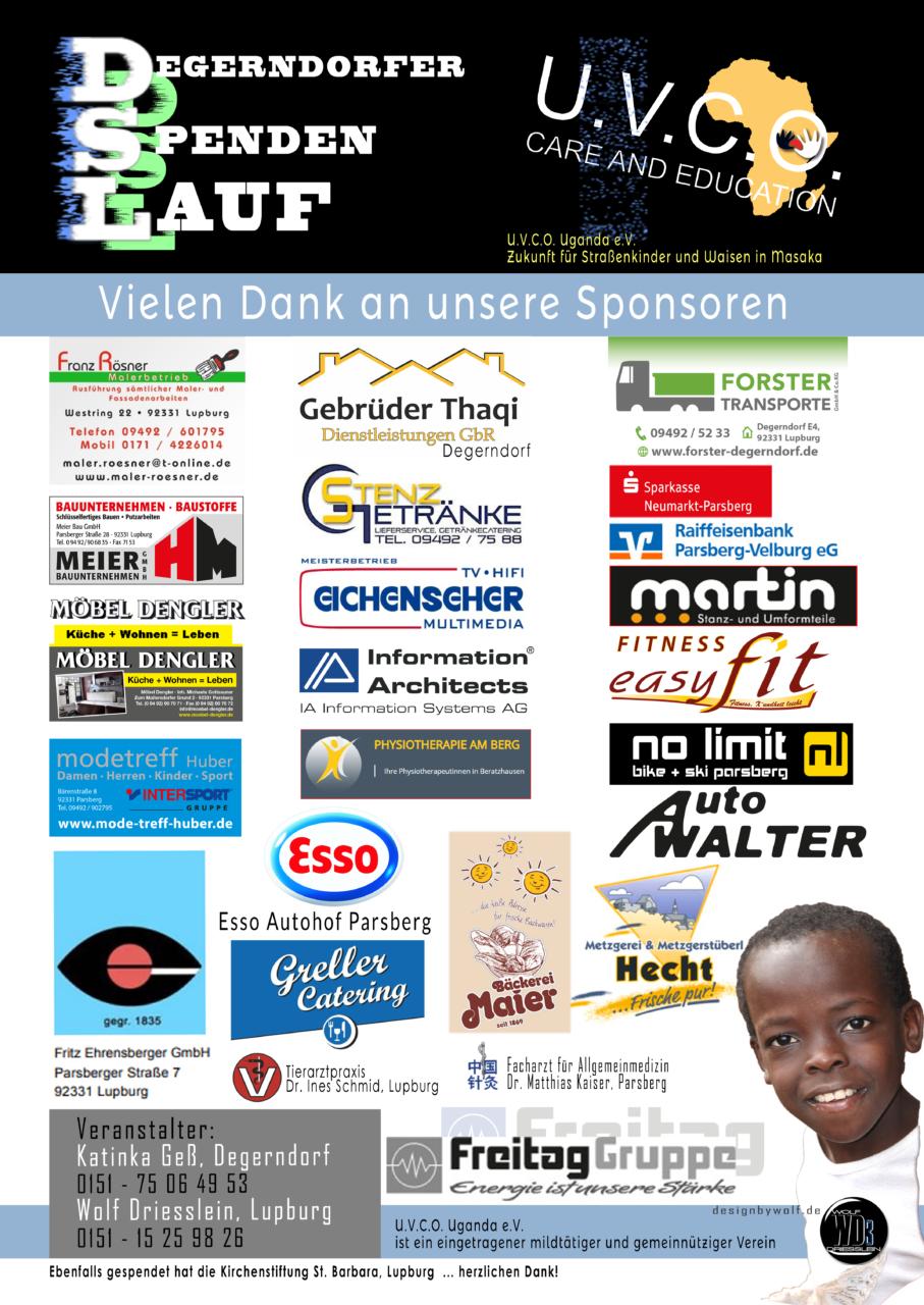 Die Sponsoren für unseren 1. Degerndorfer Spenden Lauf - DSL - am 3.10. im Überblick. Recht herzlichen Dank für Ihre tolle Unterstützung